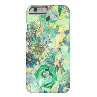 緑の水彩画は開花のiPhone 6の箱をスケッチしました Barely There iPhone 6 ケース