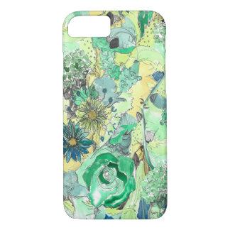 緑の水彩画は開花のiPhone 7の箱をスケッチしました iPhone 8/7ケース