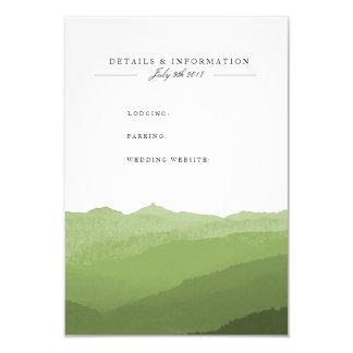 緑の水彩画山の情報カード 8.9 X 12.7 インビテーションカード