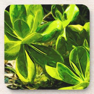 緑の水気が多い海のビーチの植物の抽象芸術 コースター
