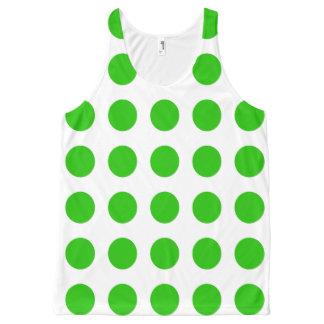 緑の水玉模様が付いているユニセックスなタンクトップ オールオーバープリントタンクトップ