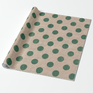 緑の水玉模様のバーラップのスタイルのギフトの包装紙 ラッピングペーパー