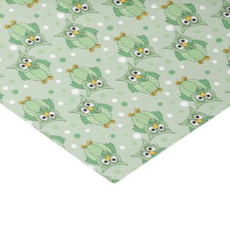 緑の水玉模様のベビーのフクロウパターン 薄葉紙