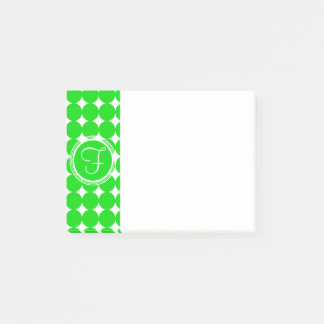 緑の水玉模様のモノグラム ポストイット