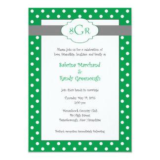 緑の水玉模様の結婚式招待状 カード