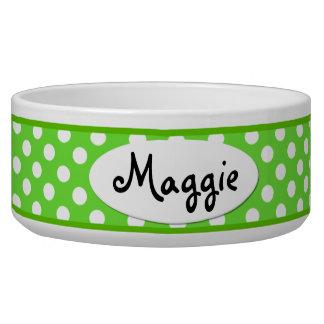 緑の水玉模様名前入りな陶磁器犬ボール