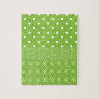 緑の水玉模様敏感なブライダルかベビーシャワー ジグソーパズル