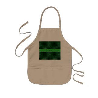 緑の水玉模様 子供用エプロン