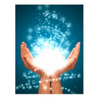 緑の治療手のチャクラの霊気エネルギー禅のヨガ ポストカード