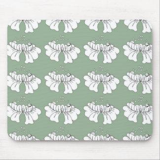 緑の泡花の白 マウスパッド