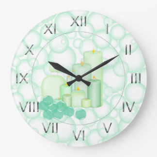 緑の泡蝋燭の浴室 ラージ壁時計