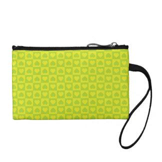 緑の淡黄緑のハートのデザイン コインパース