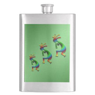 緑の渦巻ココペリ フラスク