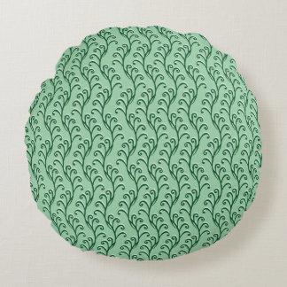 緑の渦巻形のなつる植物の円形の枕 ラウンドクッション