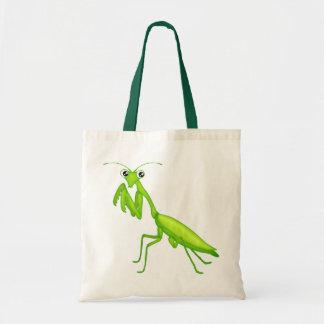 緑の漫画の祈るカマキリのキャンバスのトートバック トートバッグ