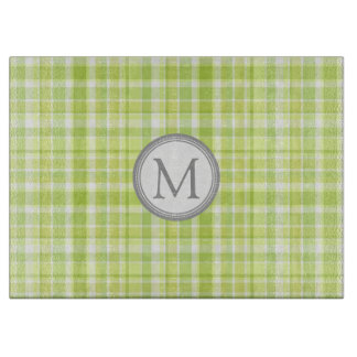 緑の灰色の格子縞のモノグラムのまな板 カッティングボード