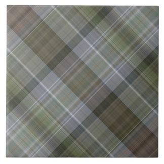緑の灰色の茶色の格子縞パターン タイル