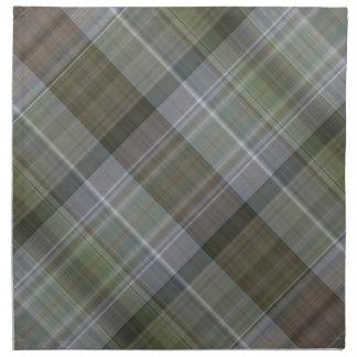 緑の灰色の茶色の格子縞パターン ナプキンクロス