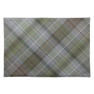 緑の灰色の茶色の格子縞パターン ランチョンマット