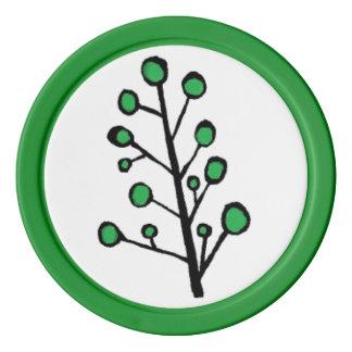 緑の点の木のポーカー用のチップ ポーカーチップ