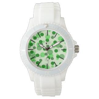 緑の点パターン 腕時計