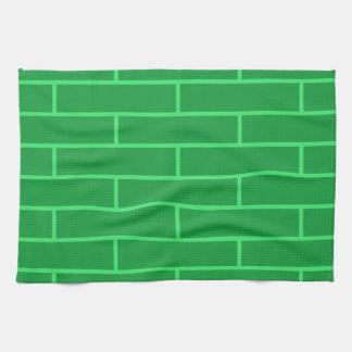 緑の煉瓦構造パターン キッチンタオル