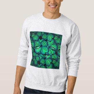 緑の熱帯ハイビスカスの花のデザイン スウェットシャツ