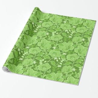 緑の熱帯ハイビスカス及び蝶色合い ラッピングペーパー
