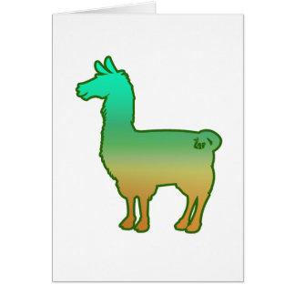 緑の熱帯ラマの挨拶状 カード