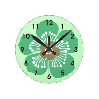 緑の熱帯花の壁Clcok ラウンド壁時計