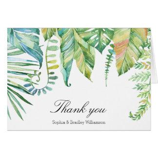 緑の熱帯葉の水彩画は感謝していしています カード