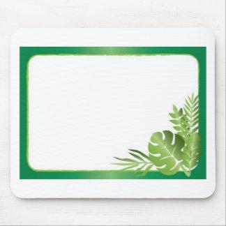 緑の熱帯葉の空白のなテンプレート マウスパッド