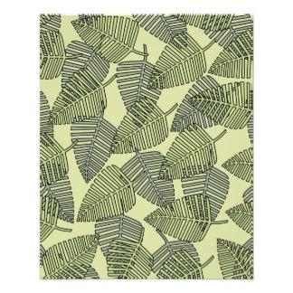 緑の熱帯葉パターン チラシ