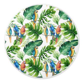 緑の熱帯葉及び鳥の夏の島 セラミックノブ