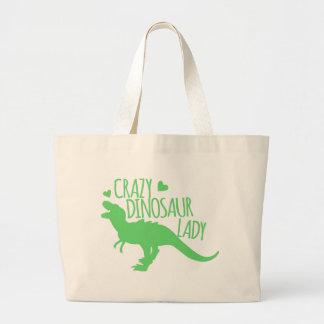緑の熱狂するな恐竜の女性ティラノサウルス ラージトートバッグ