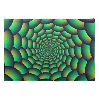 緑の球の螺線形のトンネル ランチョンマット