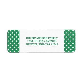 緑の甘い水玉模様の休日の宛名ラベル ラベル