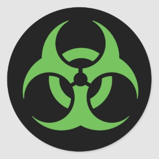 緑の生物学的災害[有害物質]の記号 ラウンドシール
