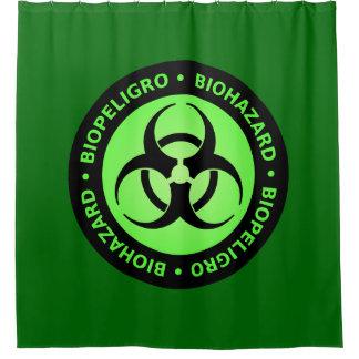 緑の生物学的災害[有害物質]の警告標識 シャワーカーテン