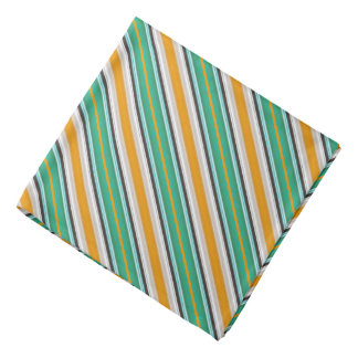 緑の白いオレンジ縞模様 バンダナ
