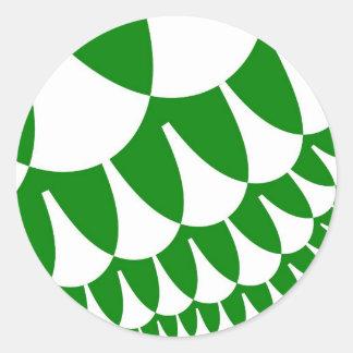 緑の白いスケールの大きい円形のステッカー ラウンドシール