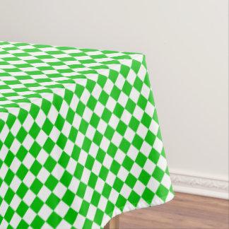 緑の白いチェック模様のクールな布のテーブルクロス テーブルクロス
