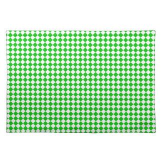 """緑の白いチェック模様のランチョンマット""""灯台ルート"""" ランチョンマット"""