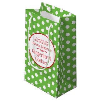 緑の白い水玉模様のクッキーの交換のベーキングまたは焼くことのギフトバッグ スモールペーパーバッグ