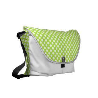 緑の白い水玉模様-メッセンジャーバッグ クーリエバッグ