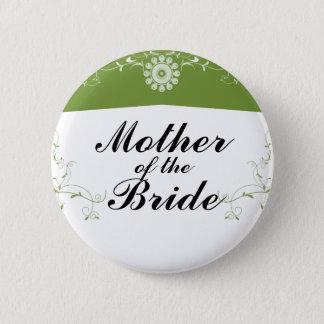 緑の白い花の華麗さのブライダルシャワー 缶バッジ