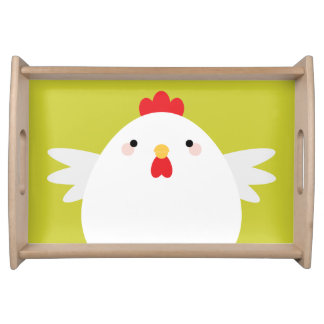 緑の白い鶏 トレー