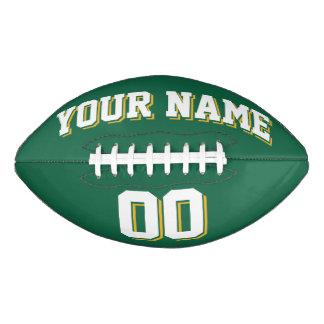 緑の白および金ゴールドの習慣のフットボール アメリカンフットボール