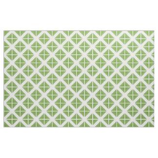 緑の白く粋な三角形パターン生地 ファブリック