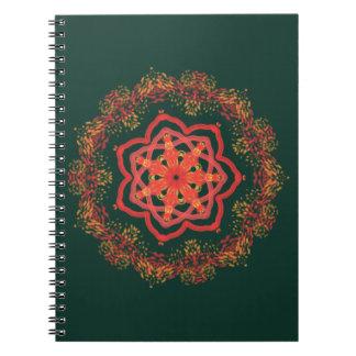緑の白熱[赤熱]光を放つなヒマワリの万華鏡のように千変万化するパターン ノートブック
